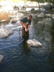 Phil Cleaning pond at Bass Pro Shops